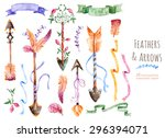 hand painted watercolor... | Shutterstock .eps vector #296394071
