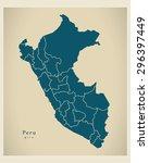 modern map   peru with regions... | Shutterstock .eps vector #296397449
