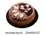 chocolate cake on the black plate isolated on white - stock photo