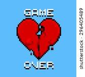 game over   pixel art logo.... | Shutterstock . vector #296405489
