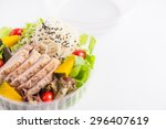 salad with roasted pork and... | Shutterstock . vector #296407619