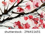 watercolor pink flowers | Shutterstock . vector #296411651