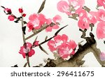 watercolor pink flowers | Shutterstock . vector #296411675