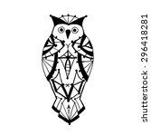 doodle owl in aztec style.