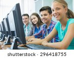 group of students working at... | Shutterstock . vector #296418755