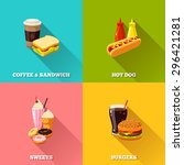 fast food colorful flat design... | Shutterstock .eps vector #296421281