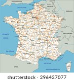 high detailed france road map... | Shutterstock .eps vector #296427077