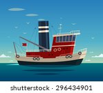 Tugboat At Sea. Vector...