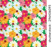 seamless pattern with chamomile ... | Shutterstock .eps vector #296436095
