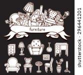 set of vector furniture hand... | Shutterstock .eps vector #296441201