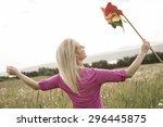 a photo of pretty blonde woman... | Shutterstock . vector #296445875