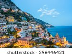 sunset view of positano village ... | Shutterstock . vector #296446421