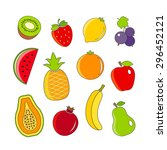 organic fresh fruits and... | Shutterstock . vector #296452121