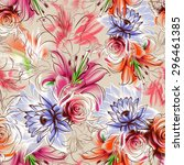seamless pattern. flowers drawn ... | Shutterstock . vector #296461385