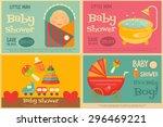 baby shower posters set. vector ...   Shutterstock .eps vector #296469221
