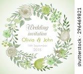 watercolor vector wreath with... | Shutterstock .eps vector #296469821
