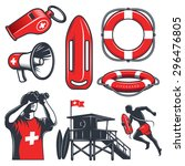 set of vintage lifeguard... | Shutterstock .eps vector #296476805