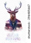 cute fashion hipster animals... | Shutterstock .eps vector #296485667