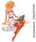 pin up girl. concept for online ... | Shutterstock .eps vector #296497349