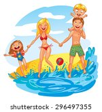 young family with two kids on... | Shutterstock .eps vector #296497355
