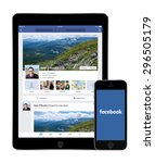 facebook social network app on... | Shutterstock . vector #296505179