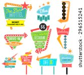 vintage neon sign colorful... | Shutterstock .eps vector #296515241