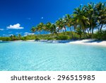 palm and tropical beach | Shutterstock . vector #296515985