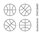basketball ball outline icons ... | Shutterstock .eps vector #296518685