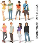 Group Of Fashion Cartoon Young...