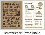 restaurant menu design template ... | Shutterstock .eps vector #296540585