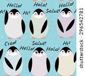 funny penguins  on blue... | Shutterstock .eps vector #296542781