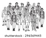 isolate group young fashion... | Shutterstock .eps vector #296569445