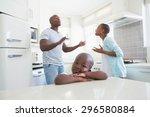 couple having an argument in... | Shutterstock . vector #296580884