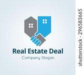 real estate deal vector logo... | Shutterstock .eps vector #296583665