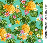 pineapples and tropical flowers ... | Shutterstock .eps vector #296589449