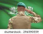 dark skinned soldier in hat... | Shutterstock . vector #296590559