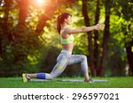 young smiling fitness woman... | Shutterstock . vector #296597021