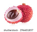 ripe lychee isolated on white... | Shutterstock . vector #296601857