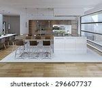 interior view of luxury kitchen ... | Shutterstock . vector #296607737