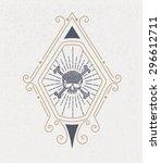 vintage logo with skull. design ... | Shutterstock .eps vector #296612711