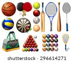 sports equipment and balls... | Shutterstock .eps vector #296614271