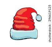 vector hand drawn santa hat... | Shutterstock .eps vector #296619125