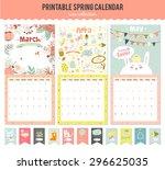 cute calendar template for 2016.... | Shutterstock .eps vector #296625035