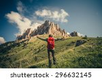 young man with backpack raised... | Shutterstock . vector #296632145