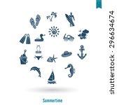 summer and beach simple flat... | Shutterstock .eps vector #296634674