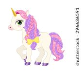 illustration of a pink pony on... | Shutterstock . vector #296636591