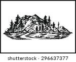 Hand Drawn Vector Mountain  ...