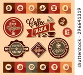 color stickers of coffee design ... | Shutterstock .eps vector #296641319