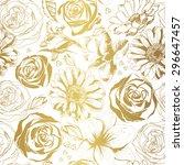 elegant white pattern with gold ... | Shutterstock .eps vector #296647457