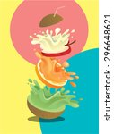fruits stack mixed juice splash ... | Shutterstock .eps vector #296648621